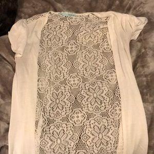 Short sleeve, lace cardigan